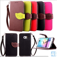 Wrist strap Leather case for SAMSUNG  Galaxy S6 Edge