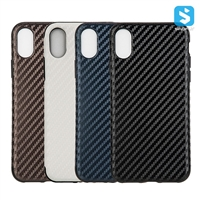 Carbon Fiber PU TPU Back Cover for iPhone X(S)