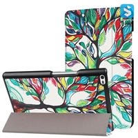 Printed Tri Fold PU Leather Case for LENOVO Tab 4  8""