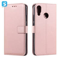 Pure color lambskin leather wallet phone case for Huawei P20 Lite