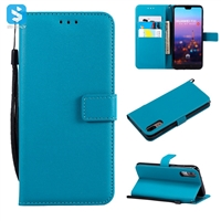 Pure color lambskin leather wallet phone case for Huawei P20