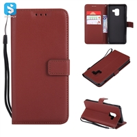 pure color lambskin leather wallet phone case for Samsung A8 2018