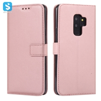 pure color lambskin leather wallet phone case for Samsung Galaxy S9 S9 plus