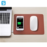 5W wireless charger PU mouse pad