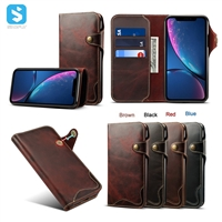 Vintage leather buttons type phone case for iPhone XR