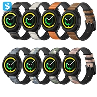 Silicone Genuine leather watchband for Samsung Gear S4