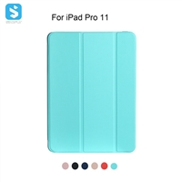 3 fold TPU back cover + PU leather case for ipad pro 11