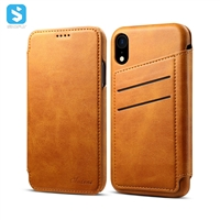 Cowhide lines wallet leather case for iPhone XR