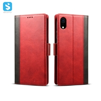 Cowhide grain wallet leather case for iphone XR