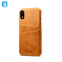 Cowhide lines leather back cover for iPhone XR