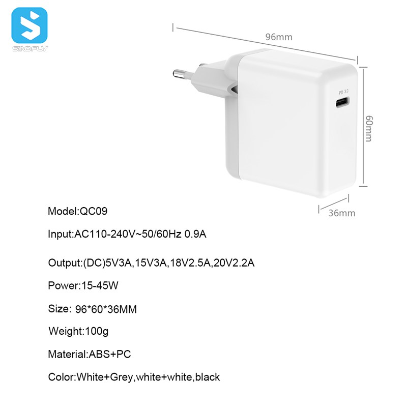 45W PD3.0 Type C fast charger