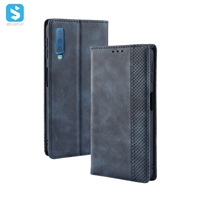 Vintage leather cover with magnetic buckle for Samsung Galaxy A7 2018(A730F)