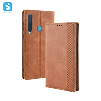 Vintage leather cover with magnetic buckle for Samsung Galaxy A9 2018
