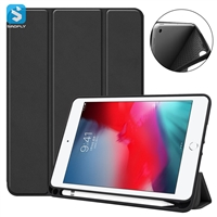 3 fold leather TPU tablet case with pencil holder for ipad mini 2019