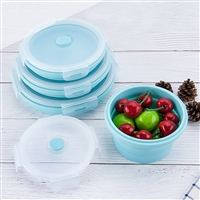 800ML Folding boxes of circular silicone bento box plastic lunch box microwave oven refrigerator lunch boxes