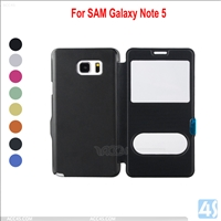 Window-view slim leather case for samsung galaxy note 5