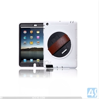 360 Rotation Anti Shock Kick Stand Case for iPad 4 3 2 with Leather Hand strap