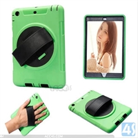 360 Rotation Anti Shock Kick Stand Case for iPad Mini 2/ 3 with Leather Hand Strap