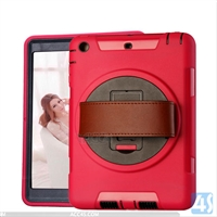 360 Rotation Anti Shock Kick Stand Case for iPad Mini 3 with Leather Hand Strap
