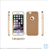 Metal Bumper PU Leather Back Cover for Apple iPhone 5 /5s
