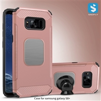 PC TPU Combo Case for Samsung Galaxy S8 Plus with Car Mount Metal Plate