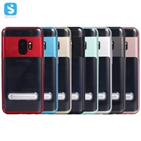 Clear Back TPU PC Kickstand Case for Samsung Galaxy S9 Plus