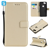 pure color lambskin leather wallet phone case for Google Pixel 2