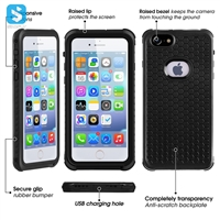 PC+TPE+PET waterproof clear phone case for iPhone 6(s) Plus