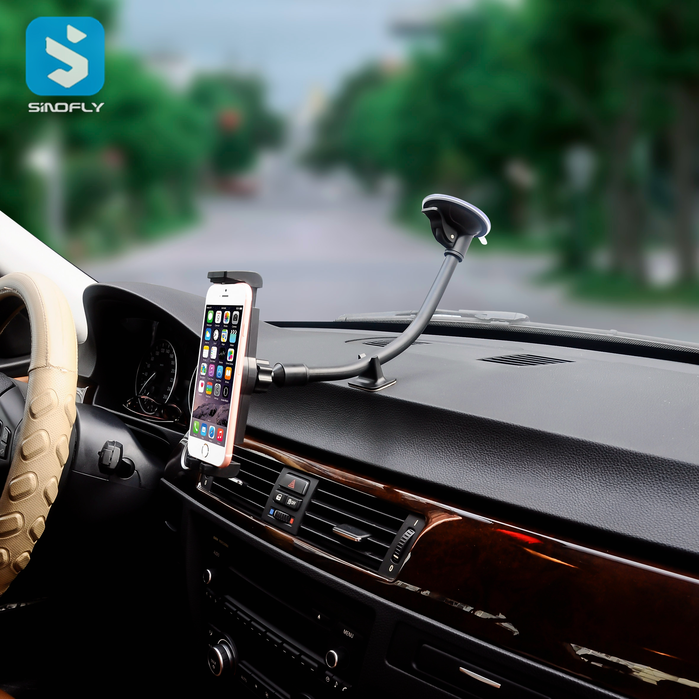 Extra long arm suction cup mount for smart phone and tablet PC