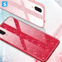 Tempered glass shell grain phone case for iPhone XS
