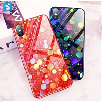 Electroplated polka-dot mobile case for iPhone XS (tempered glass)