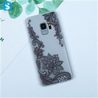 white matte lace printing Soft TPU phone case for Samsung Galaxy S9
