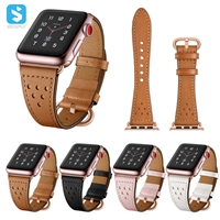 Rose gold real leather watchband for Apple Watch 1 2 3