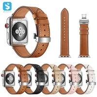 butterfly clasp real leather watchband for Apple watch 1 2 3