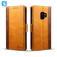 Cowhide grain wallet leather case for Samsung Galaxy S9